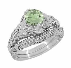 Art Deco Engraved Filigree Green Sapphire Engagement Ring in 14 Karat White Gold - Click to enlarge