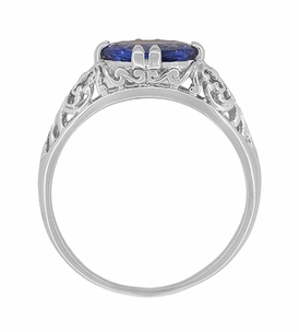 Edwardian Oval Tanzanite Filigree Ring in 14 Karat White Gold - Item R799TA - Image 3