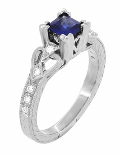 Loving Hearts Princess Cut Blue Sapphire Vintage Style Engraved Art Deco Engagement Ring in 18 Karat White Gold - Item R459WS - Image 2