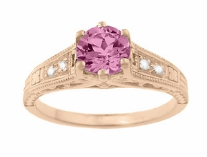 Art Deco Pink Sapphire and Diamonds Filigree Engagement Ring in 14 Karat Pink ( Rose ) Gold - Item R158RPS - Image 4
