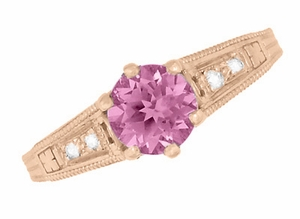 Art Deco Pink Sapphire and Diamonds Filigree Engagement Ring in 14 Karat Pink ( Rose ) Gold - Click to enlarge