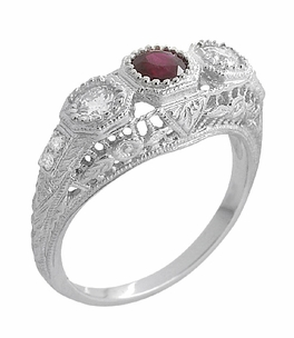 Filigree 3 Stone Ruby and Diamond Edwardian Engagement Ring in 14 Karat White Gold - Click to enlarge