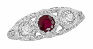 Filigree 3 Stone Ruby and Diamond Edwardian Engagement Ring in 14 Karat White Gold, Vintage Low Profile Three Stone Ring - Click to enlarge