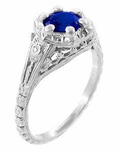 Art Deco Filigree Flowers Lab Created Sapphire Engagement Ring in 14 Karat White Gold - Item R706WCS - Image 1