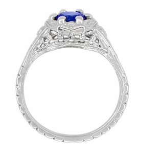 Art Deco Filigree Flowers Lab Created Sapphire Engagement Ring in 14 Karat White Gold - Item R706WCS - Image 2