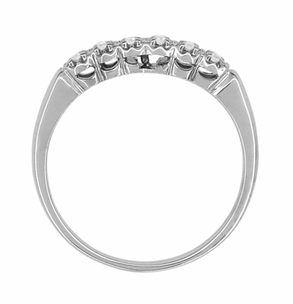 Mid Century Vintage Diamond Straightline Wedding Band in 14 Karat White Gold - Item R760 - Image 1