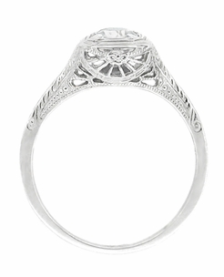 Filigree Scrolls 1/4 Carat Diamond Engraved Art Deco Engagement Ring in 14 Karat White Gold - Item R183W25D - Image 1