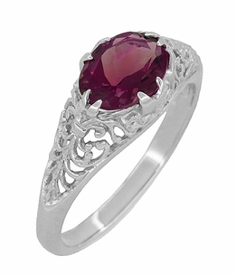 Edwardian Oval Rhodolite Garnet Filigree Engagement Ring in 14 Karat White Gold - Item R799WRG - Image 1