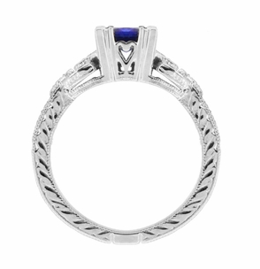 Art Deco Loving Hearts Princess Cut Blue Sapphire Vintage Style Engraved Engagement Ring in Platinum - Click to enlarge
