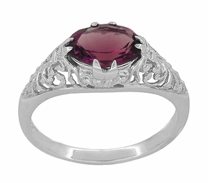 Edwardian Oval Rhodolite Garnet Filigree Engagement Ring in 14 Karat White Gold - Item R799WRG - Image 2