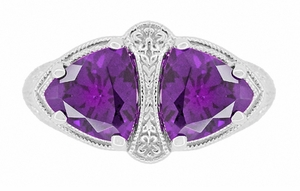 Art Deco Loving Duo Filigree 2 Stone Amethyst Ring in Sterling Silver - Item R1123AM - Image 4