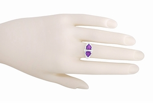 Art Deco Filigree Amethyst Loving Duo Ring in Sterling Silver - Item R1123AM - Image 5