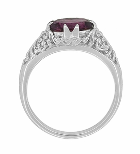 Edwardian Oval Rhodolite Garnet Filigree Engagement Ring in 14 Karat White Gold - Item R799WRG - Image 3