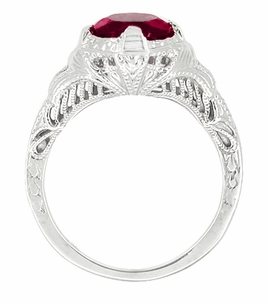 Art Deco Rubellite Tourmaline Engraved Filigree Engagement Ring in 14 Karat White Gold - Click to enlarge