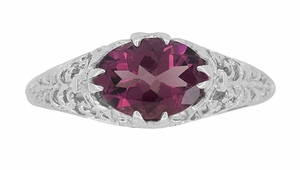 Edwardian East West Oval Rhodolite Garnet Filigree Engagement Ring in 14K White Gold - Item R799WRG - Image 4