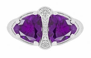 Art Deco Filigree Loving Duo Amethyst Ring in 14 Karat White Gold - February Birthstone - Click to enlarge