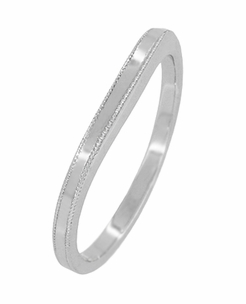 Millgrain Edge Curved Wedding Band in 18 Karat White Gold - Item WR158W18ND - Image 1