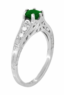 Art Deco Filigree Tsavorite Garnet Engagement Ring in 14 Karat White Gold - Item R158WTS - Image 1