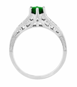 Art Deco Filigree Tsavorite Garnet Engagement Ring in 14 Karat White Gold - Item R158WTS - Image 2