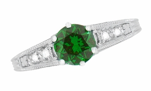 Art Deco Filigree Tsavorite Garnet Engagement Ring in 14 Karat White Gold - Click to enlarge