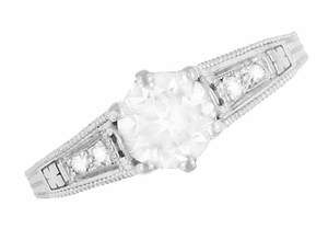 Art Deco Diamond Filigree Engagement Ring in 14 Karat White Gold - Item R643W50 - Image 4