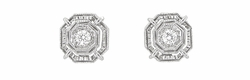 Art Deco Diamond Stud Earrings in Platinum