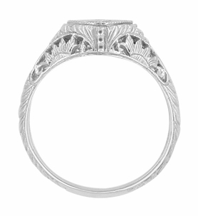 Art Deco Sapphire Filigree Engraved Sunflowers Engagement Ring in 14 Karat White Gold - Click to enlarge