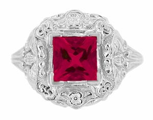 Princess Cut Ruby Art Nouveau Ring in Sterling Silver - Click to enlarge