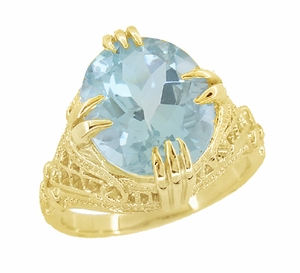 Aquamarine Art Deco Filigree Ring in 14 Karat Yellow Gold - Click to enlarge