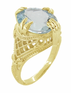 Aquamarine Art Deco Filigree Ring in 14 Karat Yellow Gold - Item R157YA - Image 2