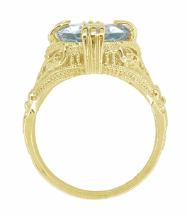 Aquamarine Art Deco Filigree Ring in 14 Karat Yellow Gold - Item R157YA - Image 3