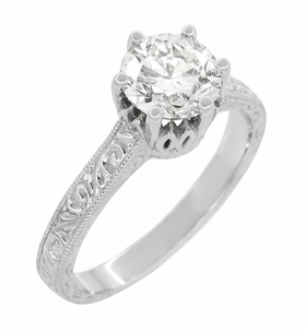 Art Deco Crown Filigree Scrolls 1.23 Carat Solitaire Diamond Engraved Engagement Ring in 18 Karat White Gold - Click to enlarge