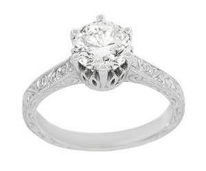 Art Deco Crown Filigree Scrolls 1.23 Carat Solitaire Diamond Engraved Engagement Ring in 18 Karat White Gold - Item R199WD125 - Image 2