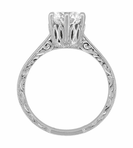 Art Deco Crown Filigree Scrolls 1.23 Carat Solitaire Diamond Engraved Engagement Ring in 18 Karat White Gold - Item R199WD125 - Image 4