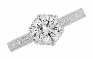 Art Deco Crown Filigree Scrolls 1.23 Carat Solitaire Diamond Engraved Engagement Ring in 18 Karat White Gold - Item R199WD125 - Image 5