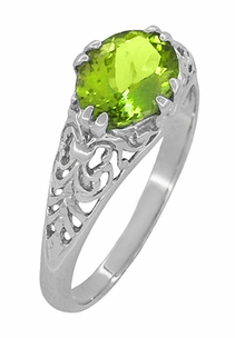 Oval Peridot Filigree Edwardian Engagement Ring in 14 Karat White Gold - Click to enlarge