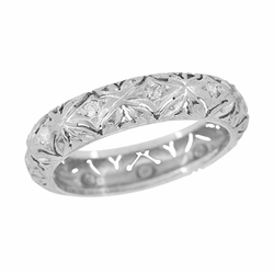 Edwardian Coventry Floral Filigree Vintage Diamond Wedding Band in Platinum - Size 7