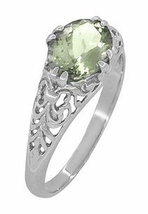 Edwardian Oval Prasiolite ( Green Amethyst ) Filigree Engagement Ring in Sterling Silver - Item R1125GA - Image 1