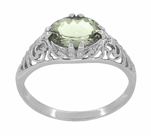 Edwardian Oval Prasiolite ( Green Amethyst ) Filigree Engagement Ring in Sterling Silver - Item R1125GA - Image 2