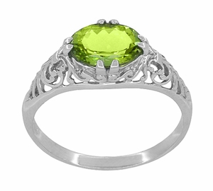 Oval Peridot Filigree Edwardian Engagement Ring in 14 Karat White Gold - Item R799PER - Image 2