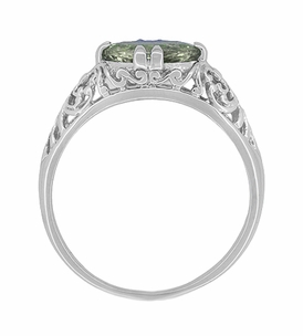 Edwardian Oval Prasiolite ( Green Amethyst ) Filigree Engagement Ring in Sterling Silver - Item R1125GA - Image 3