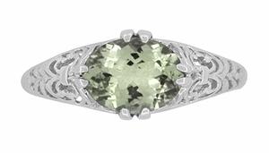 Edwardian Oval Prasiolite ( Green Amethyst ) Filigree Engagement Ring in Sterling Silver - Item R1125GA - Image 4