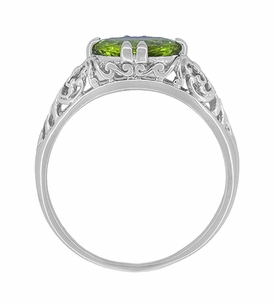 Oval Peridot Filigree Edwardian Engagement Ring in 14 Karat White Gold - Item R799PER - Image 3