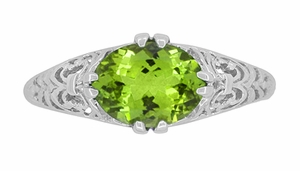 Oval Peridot Filigree Edwardian Engagement Ring in 14 Karat White Gold - Item R799PER - Image 4