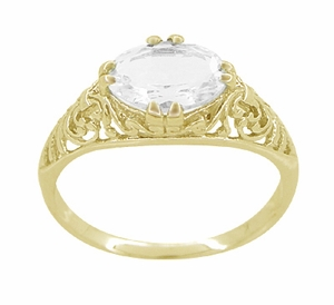 White Sapphire Edwardian Filigree Engagement Ring in 14 Karat Yellow Gold  - Click to enlarge