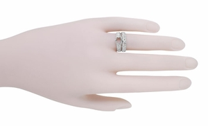 Filigree Flowing  Scrolls Edwardian Engagement Ring Setting for a 3/4 Carat Diamond in 14 Karat White Gold - Item R1196W - Image 8