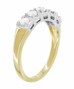 Mid Century Straightline Diamond Wedding Ring in 14 Karat White and Yellow Gold - Item WR728 - Image 1