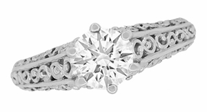 Flowing Scrolls 1/2 Carat Diamond Filigree Edwardian Engagement Ring in 14 Karat White Gold - Item R1196W50D - Image 2