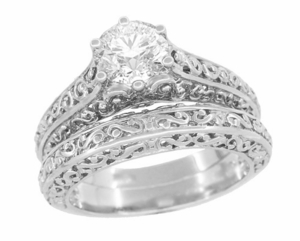 Flowing Scrolls Diamond Filigree Edwardian Engagement Ring in 14 Karat White Gold - Item R1196W50D - Image 4