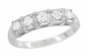 Mid Century Straightline Diamond Wedding Ring in 14 Karat White Gold